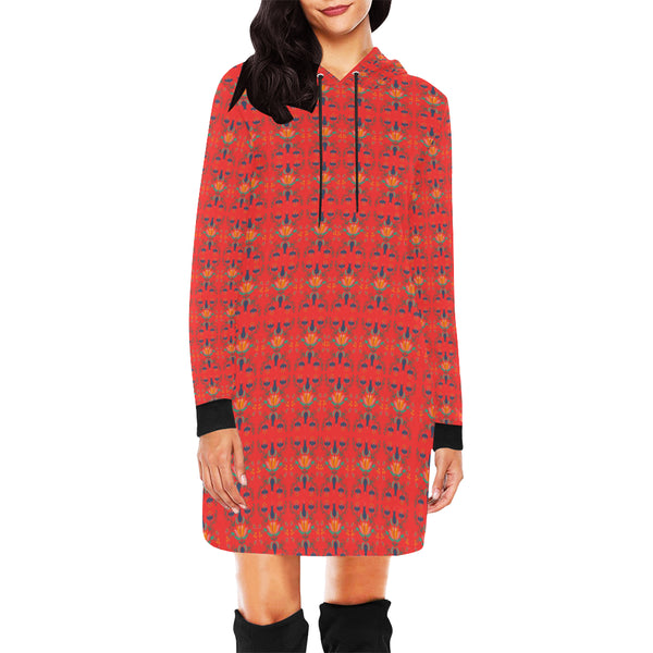 Folklore Women's Hoodie Mini Dress, Red With Floral Print (Model H27)