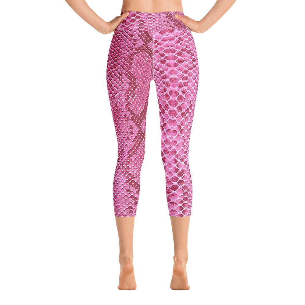 Pink snake Yoga Capri Leggings - Hapyrel