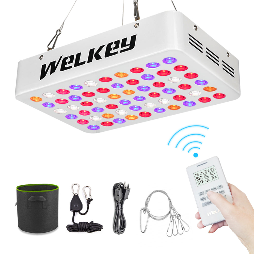 Welkey Plus Optical Lens-Series 600W Indoor LED Grow Light,Remote Control  Multiple Lights with Timer/Thermometer Humidity Monitor, Full Spectrum  Plant