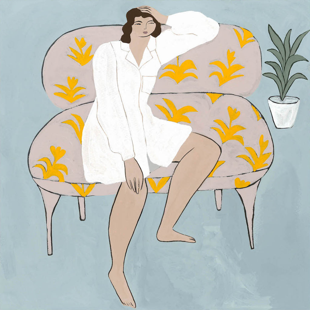 Isabelle Feliu wonderer on a couch art print