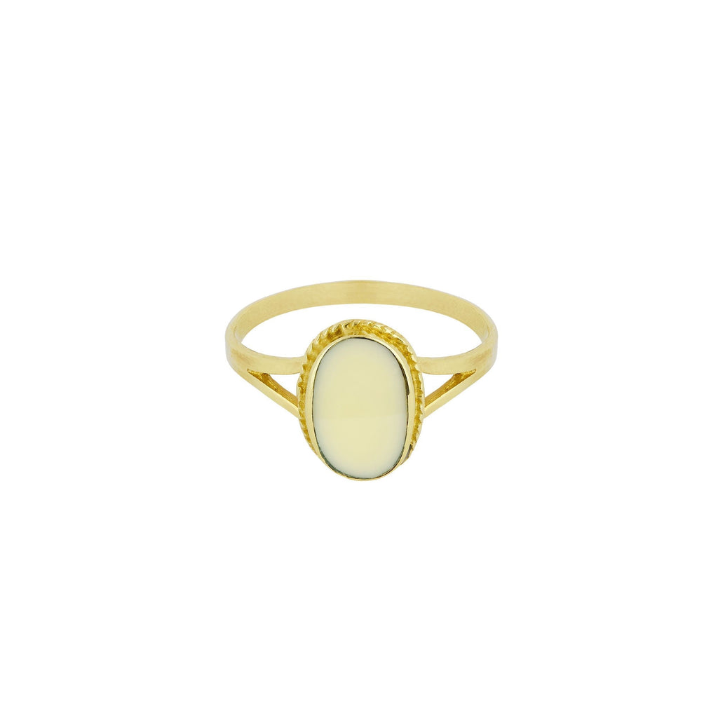 OVAL SOUVENIR RING IVORY GOLD - Rings - Flawed