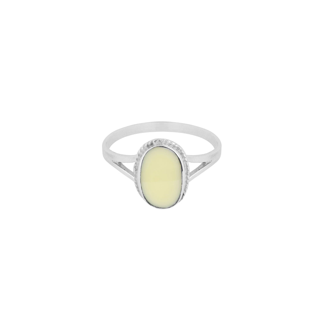 OVAL SOUVENIR RING IVORY SILVER - Rings - Flawed