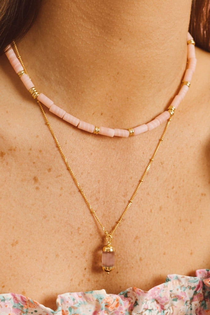 PINK CLOUD NECKLACE GOLD - Necklaces - Wildthings Collectables