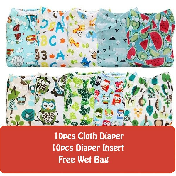 Starter Set | 10pcs Adjustable Diaper 3-15Kg + Free Wet Bag