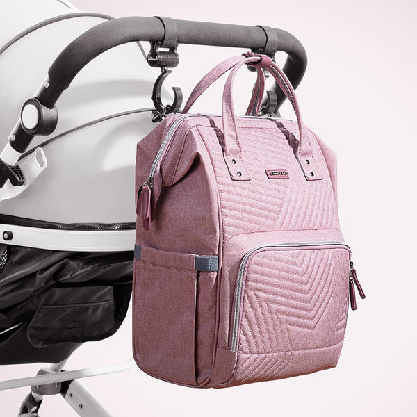Fashion Diaper Bag + Stroller Hook | Maternity Backpack with USB Charger