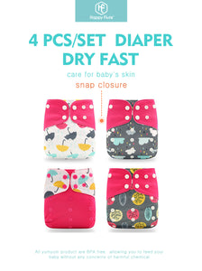 4pcs Pocket Cloth Diaper | Reusable Nappies 3-15kg