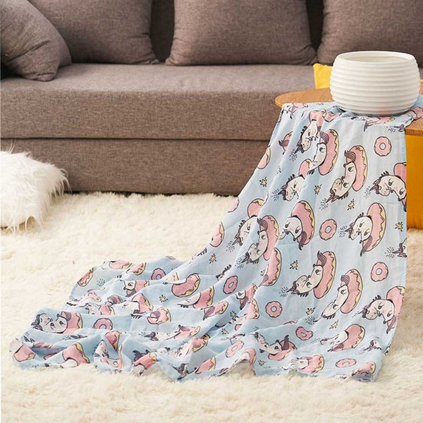 Unicorn Print Baby Muslin Swaddle 100% Cotton