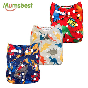 3pcs Cloth Diaper Dinosaur Print | Adjustable 3-15Kg