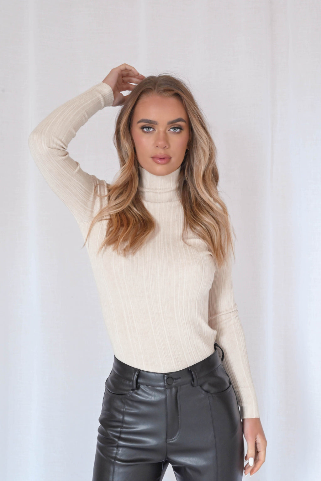 Stevie Ribbed Knit Top - Nude