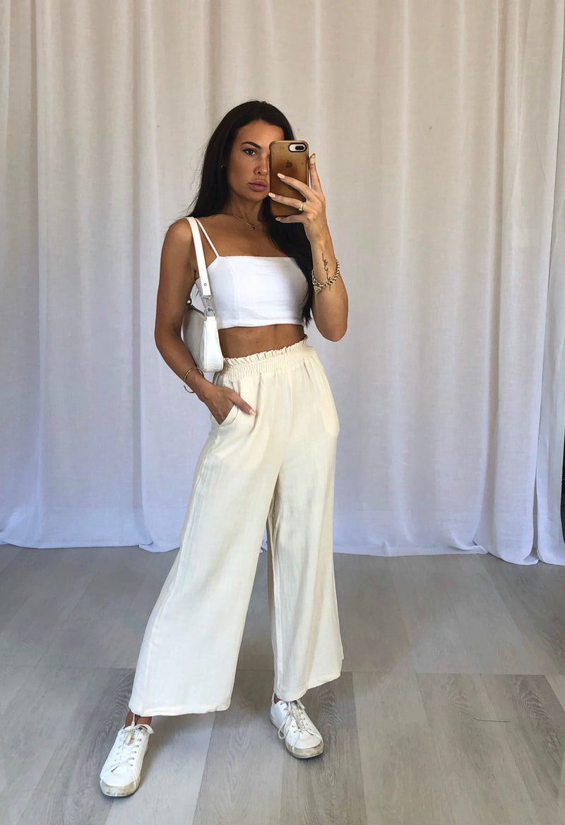 Ollie Wide Leg Pants - Sand