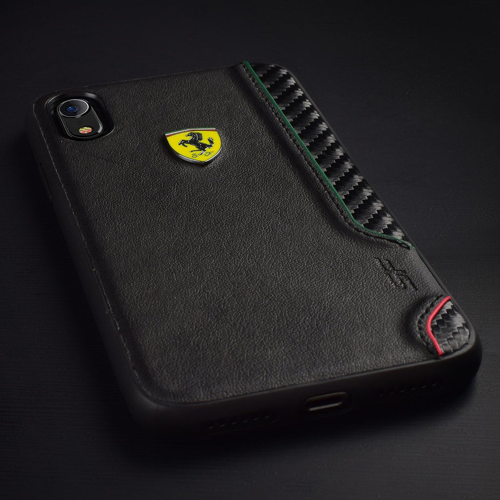 Black PU Rubber Soft Touch with Shield Cover For iPhone XR (Black) Mobile Cases Ferrari