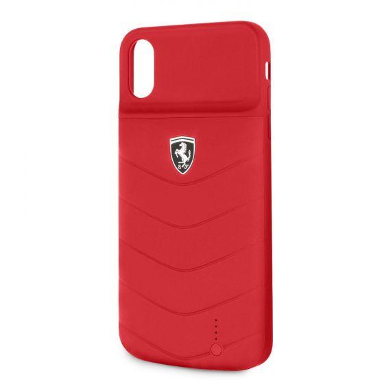 Ferrari Compatible with iPhone XS Max Power Case OFF TRACK 3600mAH Lithium Battery Debossed Lines Full Cover Rubber Finish Red Power Banks Ferrari