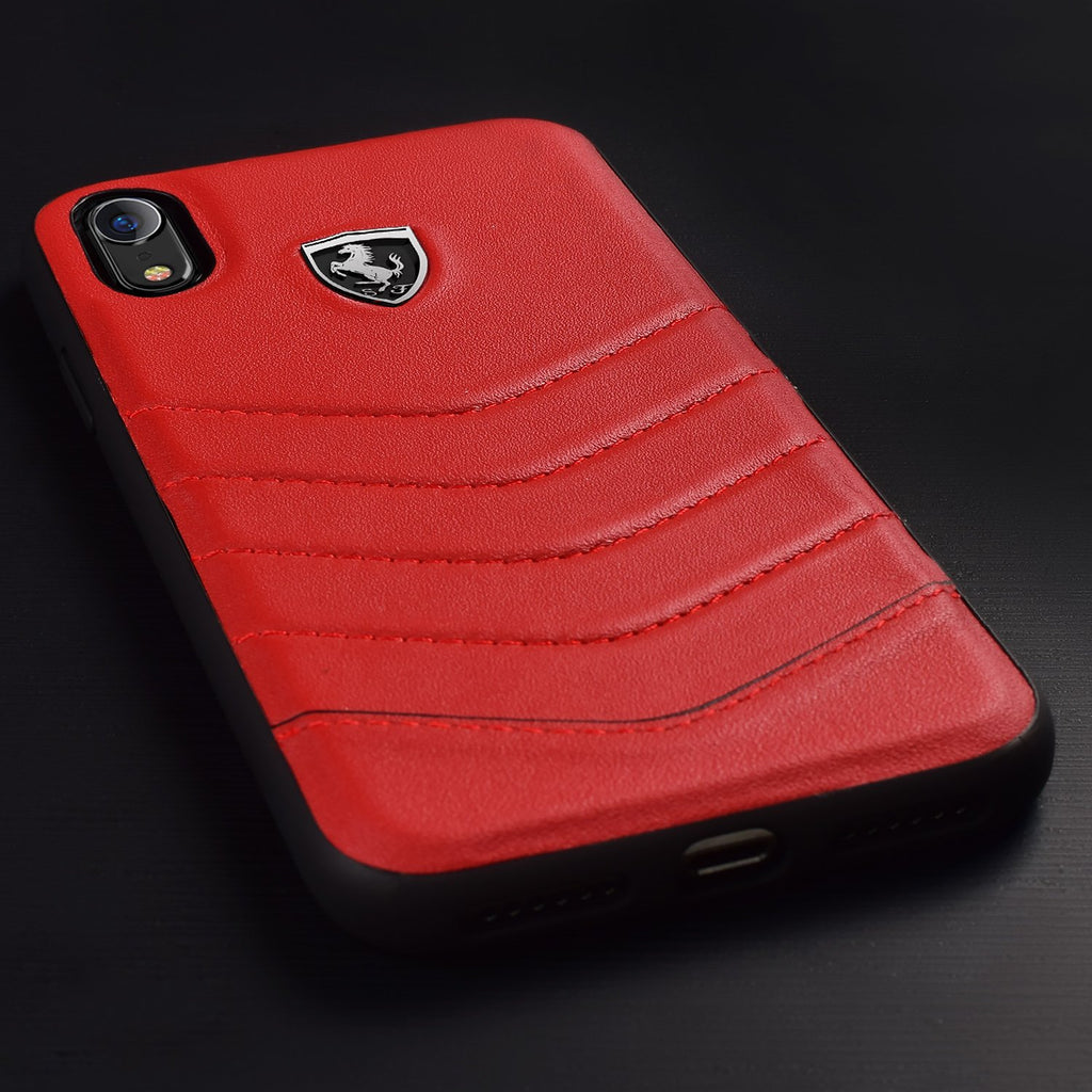 Ferrari Genuine Leather Heritage Cover For iPhone XR (Red) Mobile Cases Ferrari