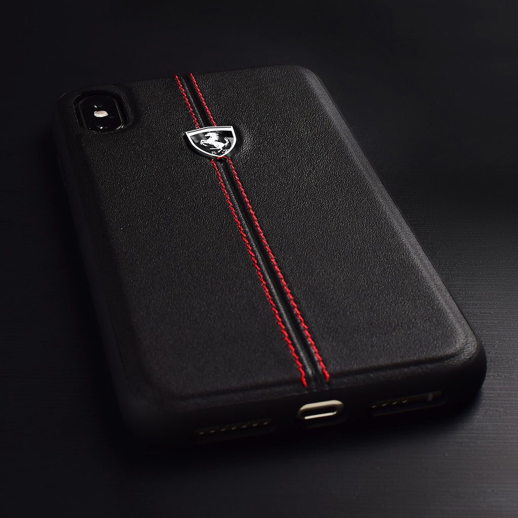 Ferrari Genuine Leather Heritage For iPhone XS/X (Black) Mobile Cases Ferrari