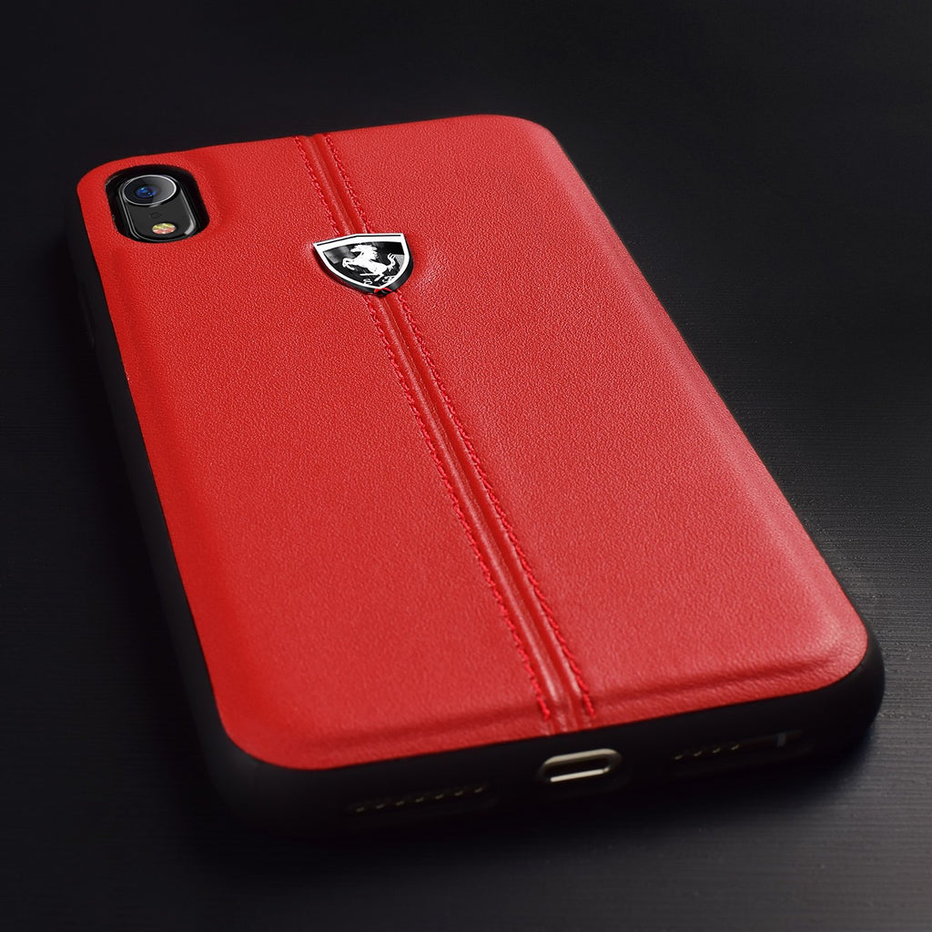 Ferrari Heritage Hardcase Vertical Contrasted Stripe Cover For iPhone XR (Red) Mobile Cases Ferrari