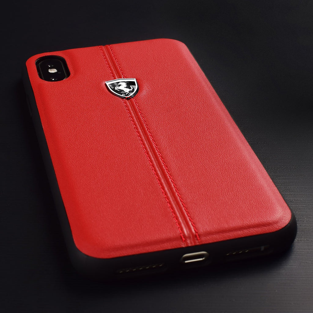 Ferrari Heritage Hardcase Vertical Contrasted Stripe Cover For iPhone XS Max (Red) Mobile Cases Ferrari