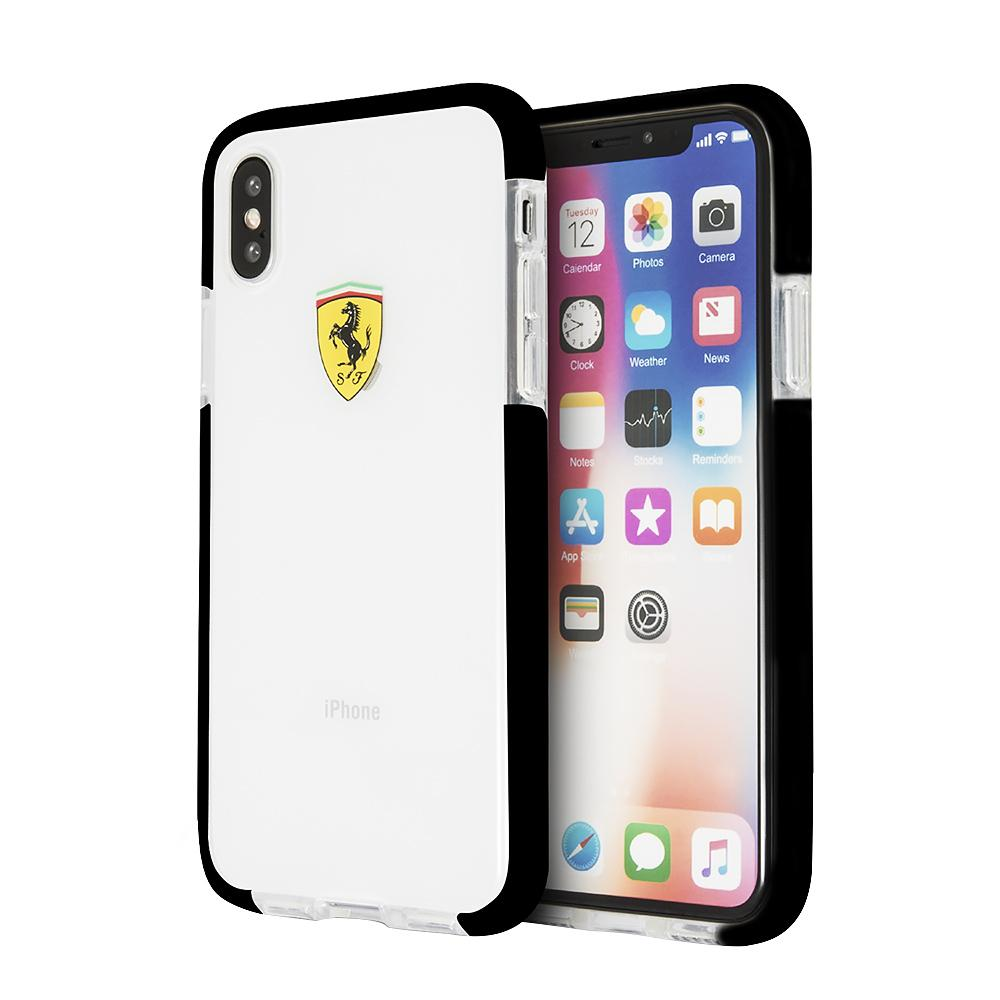 Ferrari On Track Collection, Transparent Shock Absorption Case For iPhone XS/X (Black Side) Mobile Cases Ferrari