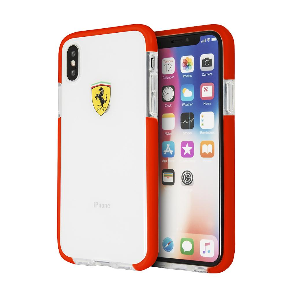 Ferrari On Track Collection, Transparent Shock Absorption Case iPhone XS/X (Red Side) Mobile Cases Ferrari