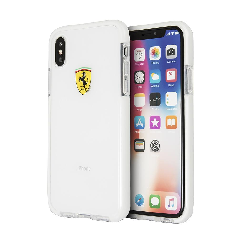Ferrari Original Logo Hard Case For iPhone XS Max (Transparent) Mobile Cases Ferrari