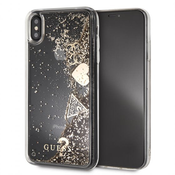 Guess Floating Glitter Gold Hard Phone Case for iPhone XS Max Mobile Cases Guess