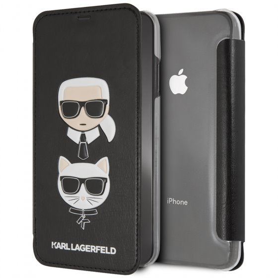 Karl Lagerfeld Book Style Cell Phone Case with Graphic Design for iPhone XS Max (Black) Mobile Cases Karl Lagerfeld