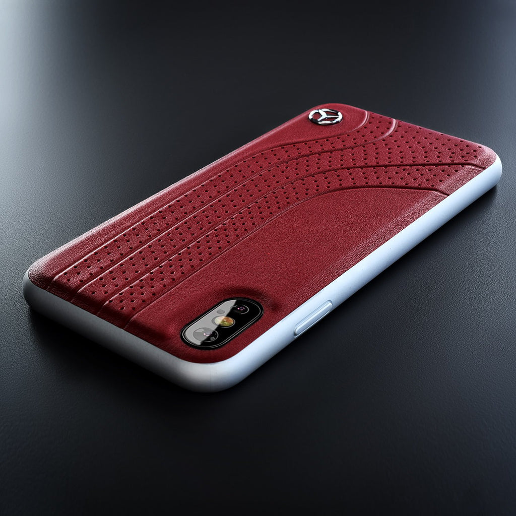 Mercedes-Benz Genuine Leather Hard Case New Bow I Collection iPhone XS Max (Red) Mobile Cases Mercedes-Benz