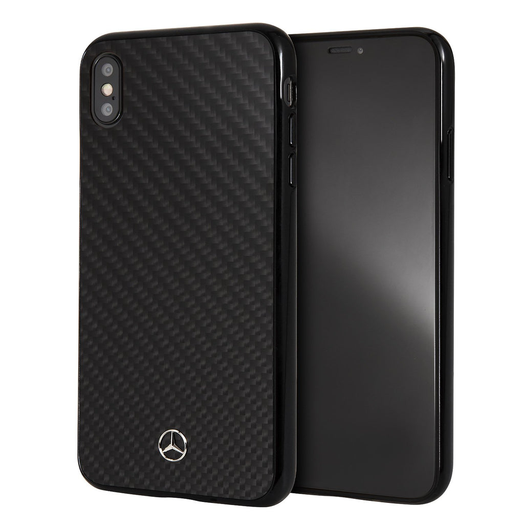 Mercedes Benz Real Carbon Fiber Dynamic Pattern Hardcase For iPhone XS Max (Black) Mobile Cases Mercedes-Benz