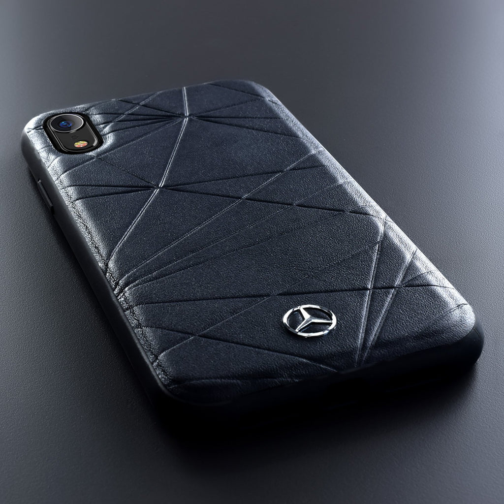 Mercedes Benz Twister Genuine Leather Hardcase For iPhone XR (Navy) Mobile Cases Mercedes-Benz