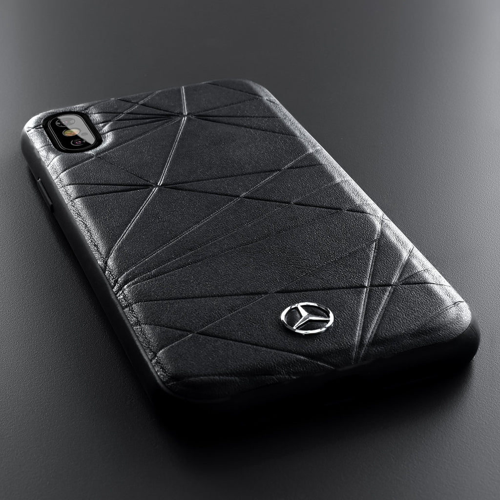 Mercedes Benz Twister Genuine Leather Hardcase For iPhone XS/X (Black) Mobile Cases Mercedes-Benz
