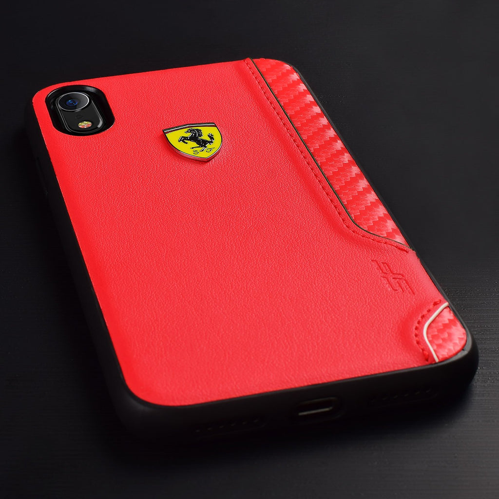 PU Rubber Soft Touch with Shield iPhone XR (Red) Mobile Cases Ferrari