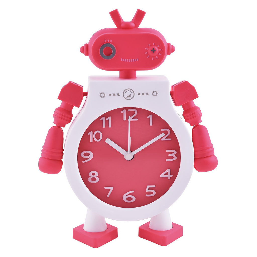 Table Analog Robort Design Clock Metal Frame AAA Battery Operated Twin Bell Alarm (Red) (15.4x4x20.3) Clocks Archies Lifestyle