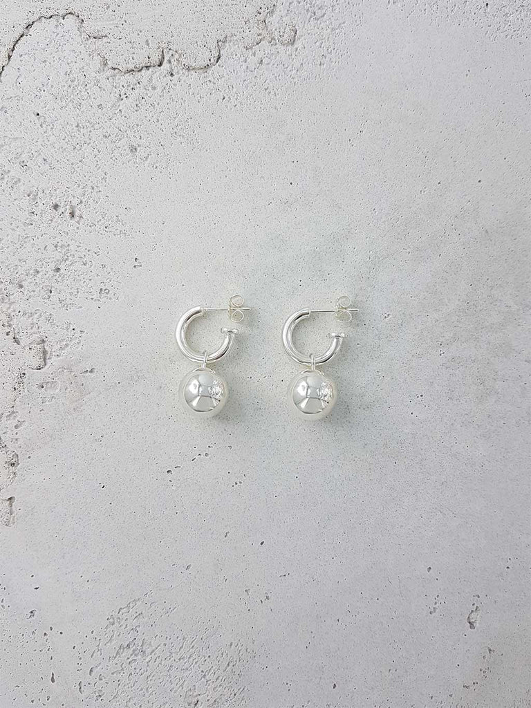 ROMANIN 1995 EARRINGS HOLLOW 925 STERLING SILVER HOOP AND BALL JEWELRY JEWELLERY