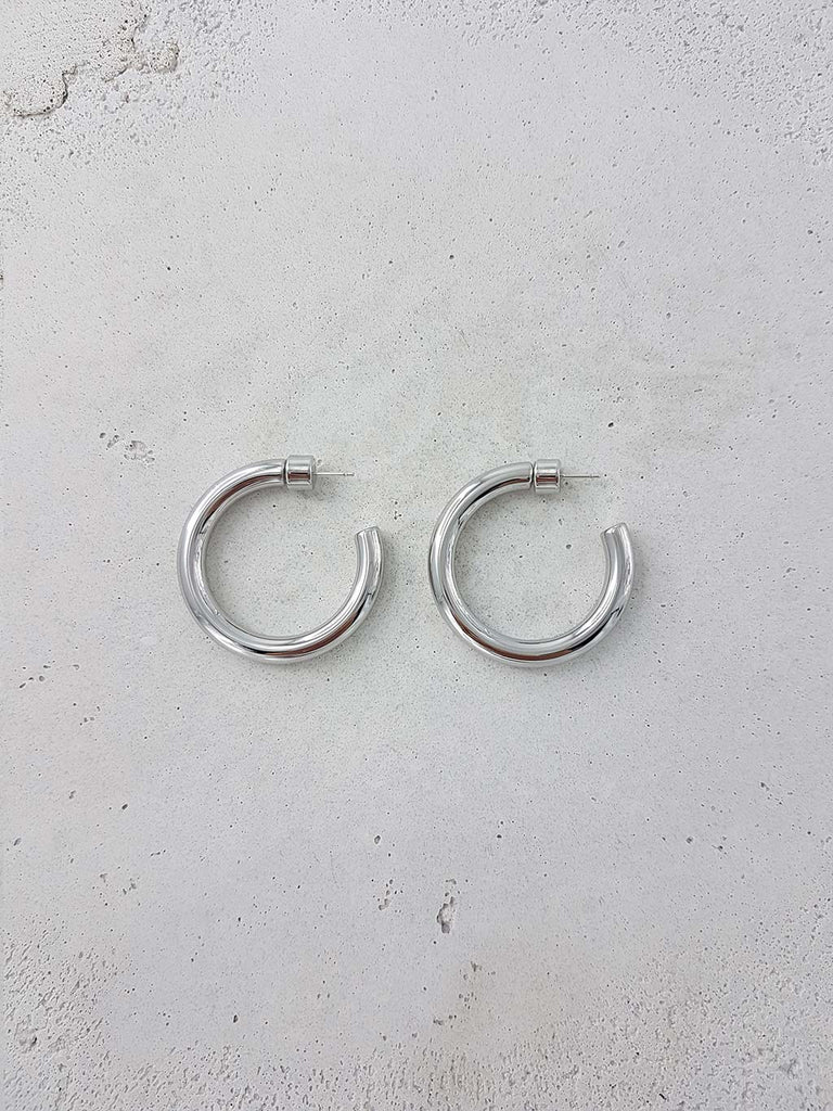ROMANIN LUISA HOOPS RHODIUM SOLID BRASS SILVER JEWELRY JEWELLERY