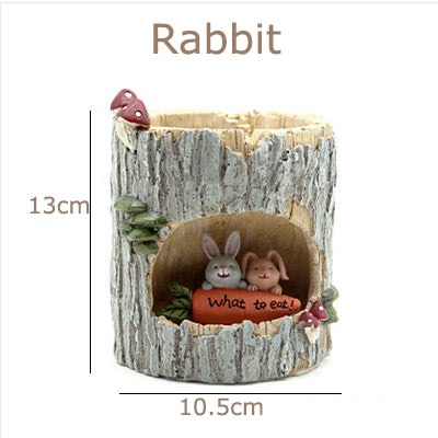 Creative Tree House Resin Animals Flower pots Succulent Plant Pots Micro-landscape Fairy Garden Decoration Bonsai Planter