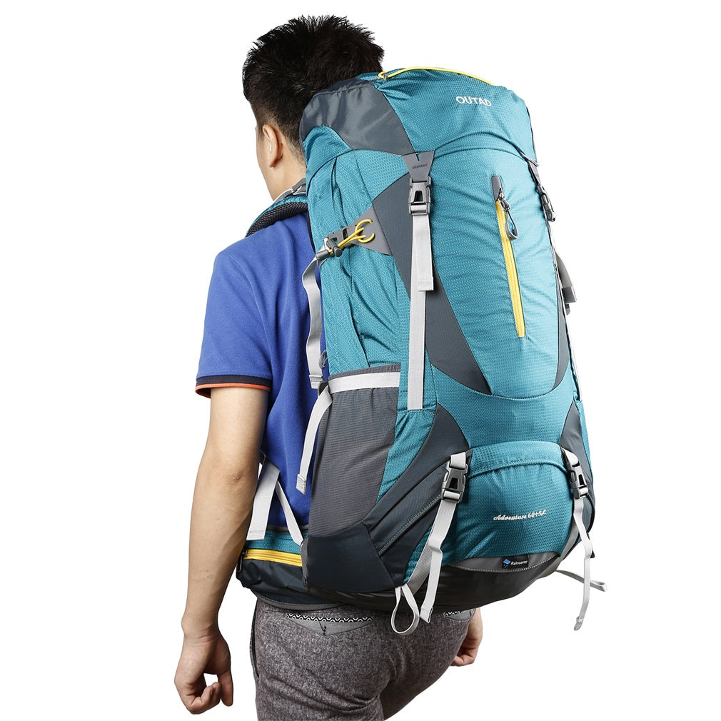 OUTAD 60+5L Outdoor Water Resistant Sport Backpack Hiking Camping Travel Bag