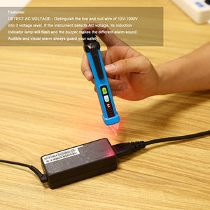 Non-Contact Voltage Tester Detector Induction Pen LED Flashlight 12V-1000V