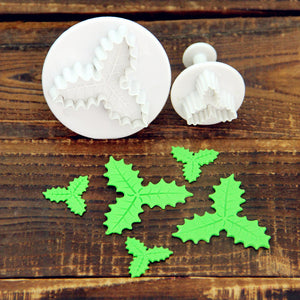 Christmas XMas Holly Tree Fondant Cake Cookie Mold Mould Cutter Tool craft