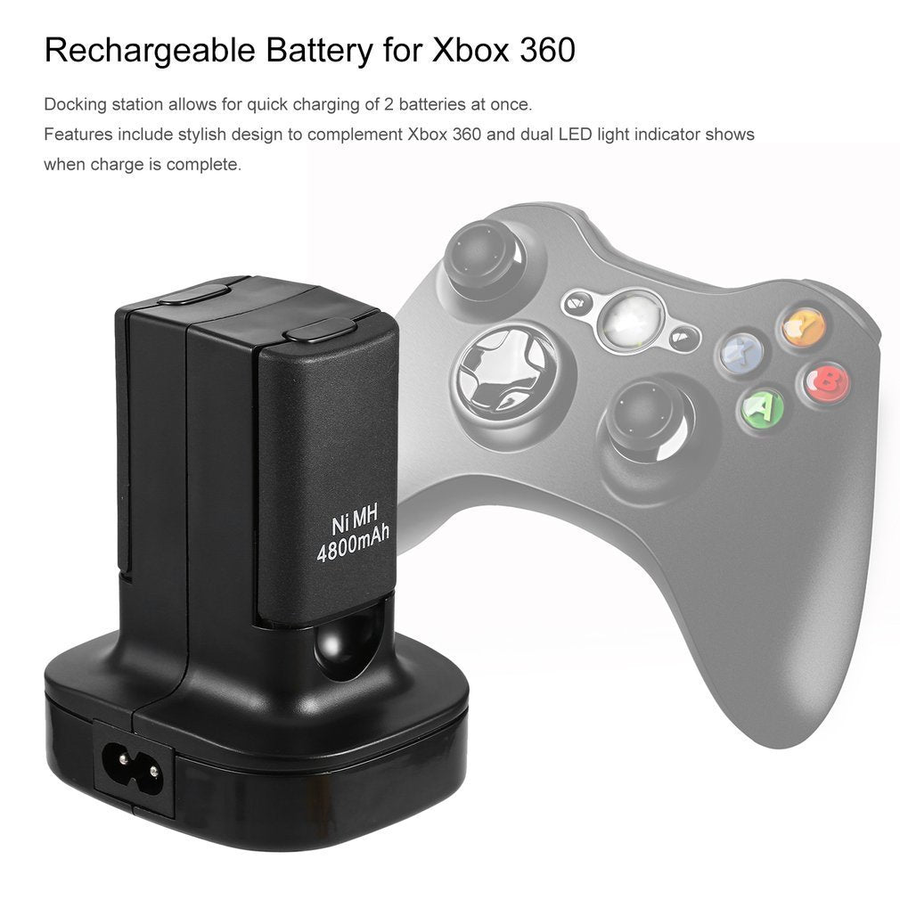 Charging Station Charger Dock+2X 4800mAh Rechargeable Battery for Xbox 360