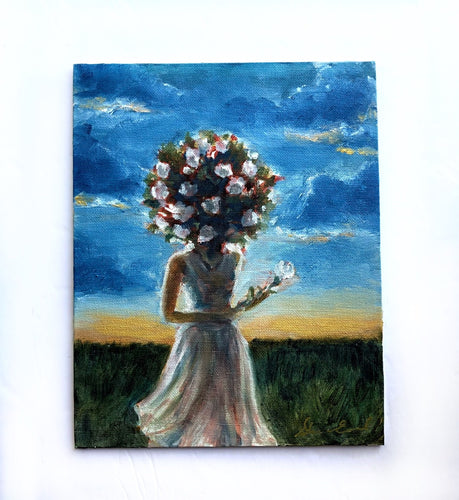 'Golden Horizons' Floral Headed Girl - 8x10 Oil on Panel