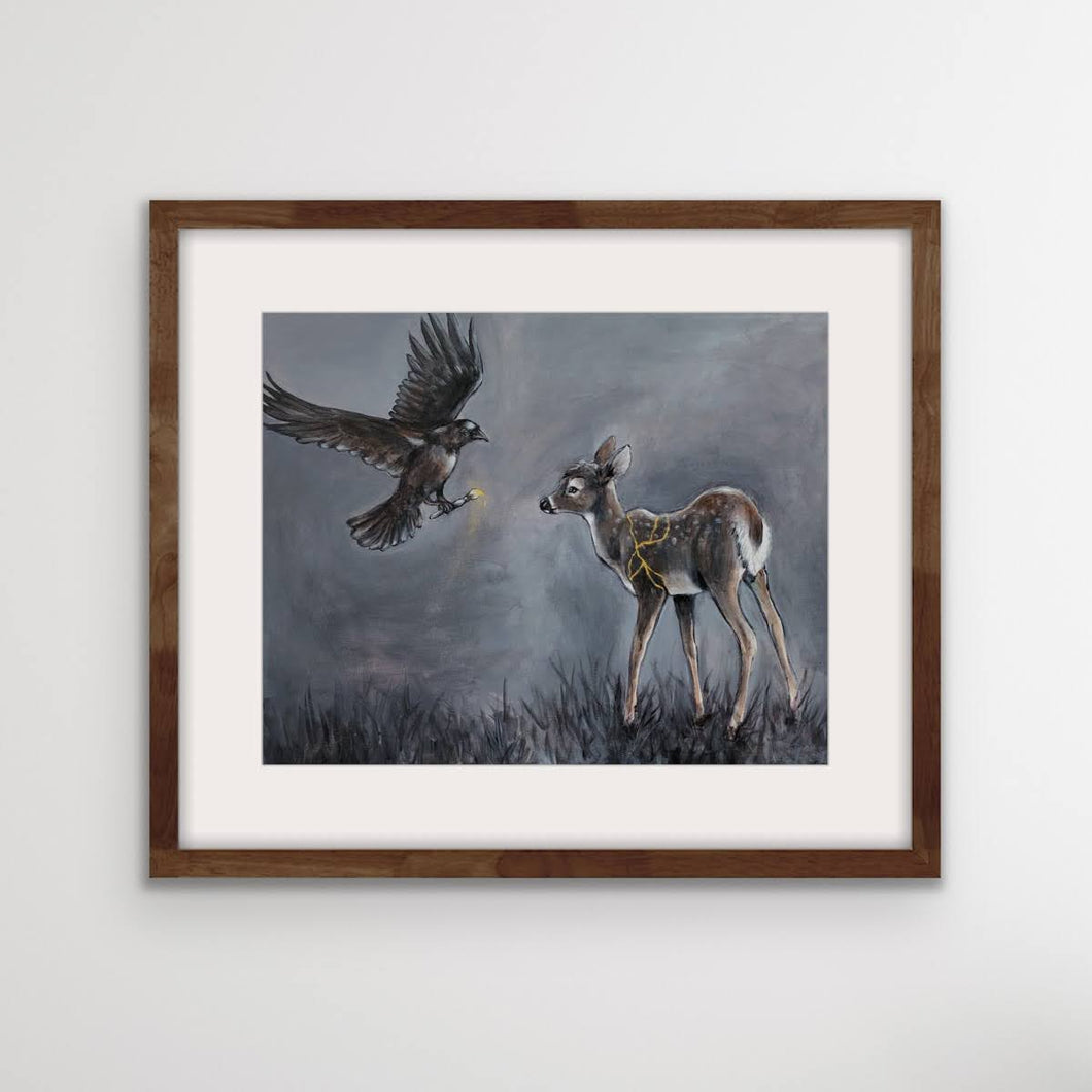 'Kintsugi- Raven and the Fawn' Fine Art Print