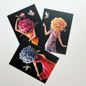 'Hydrangea', 'Peony' and 'Marigold' Collectible Art Cards