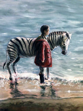 Load image into Gallery viewer, Girl with Zebra - Original Oil Painting