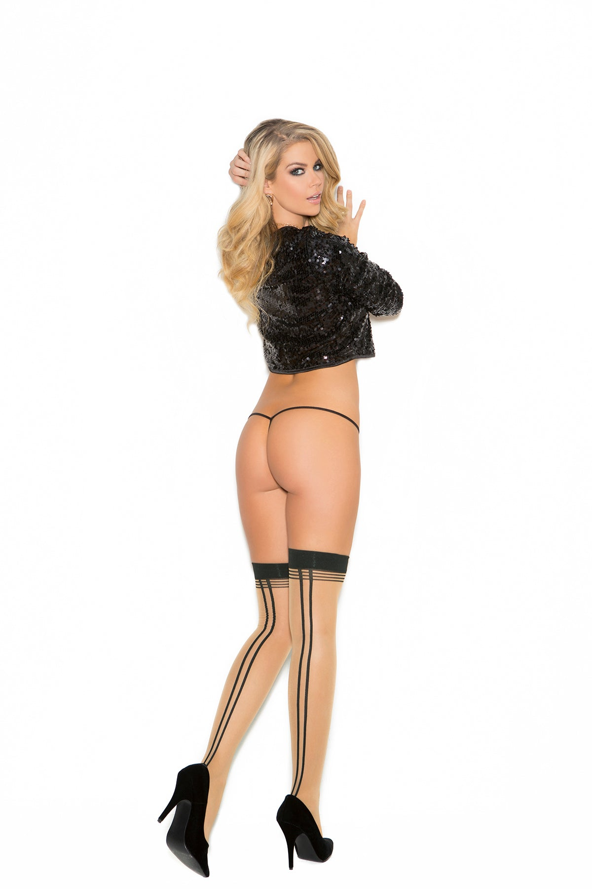 SHEER THIGH HI W/DOUBLE BACK S