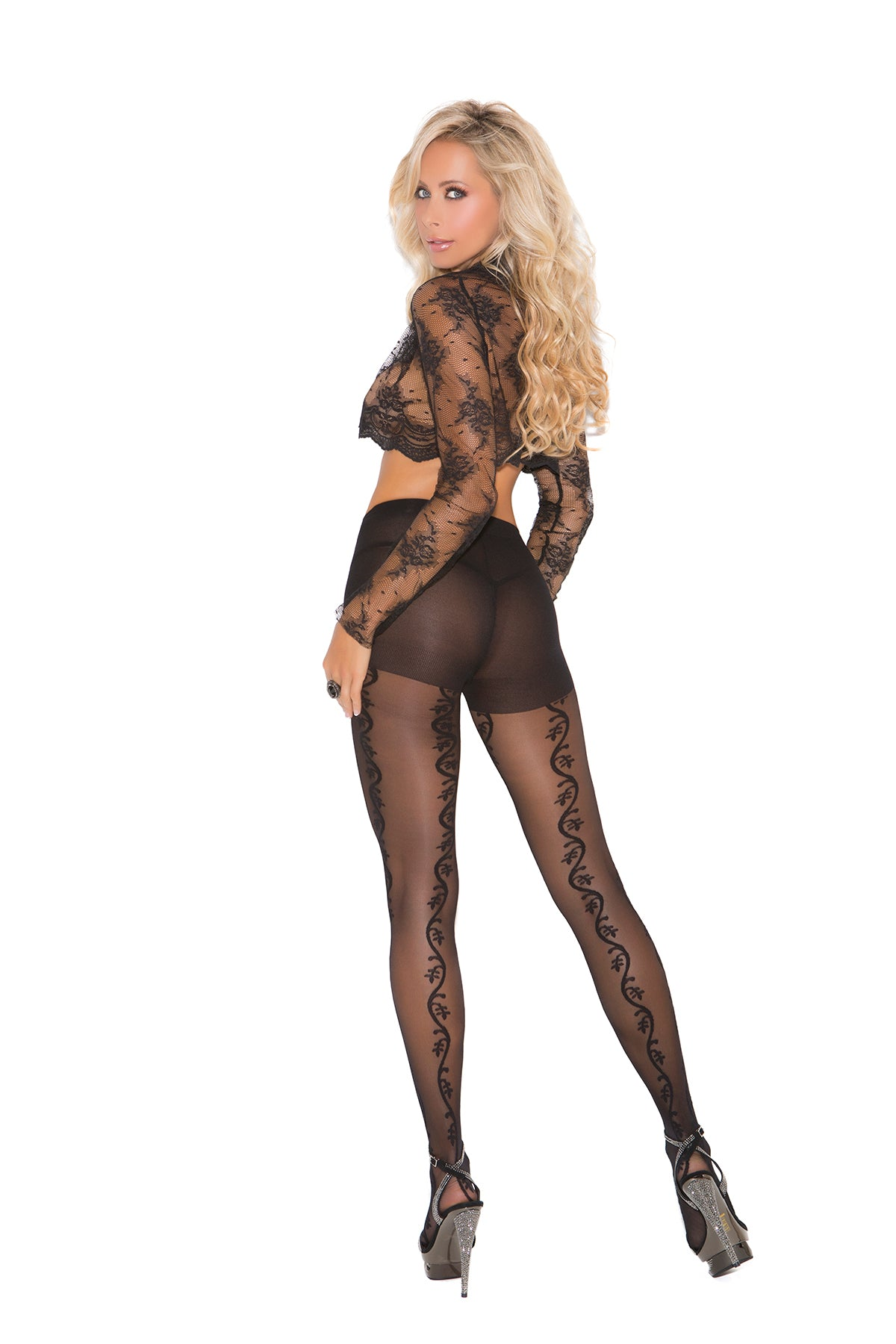 VERTICAL VINE DETAIL PANTYHOSE