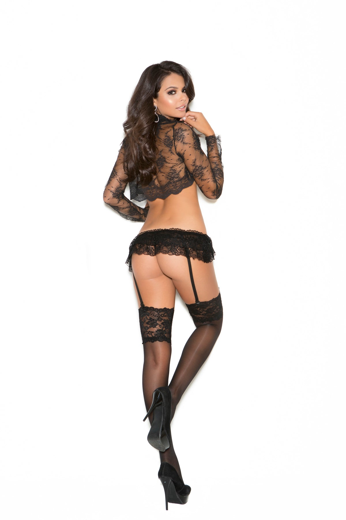 SHEER THIGH HI W/ 5 INCH TOP