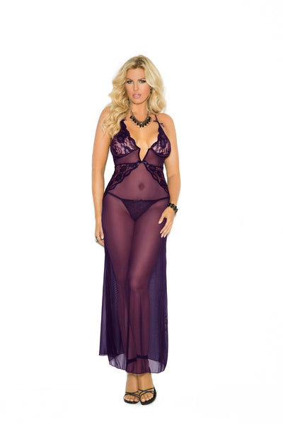 DEEP V MESH GOWN WITH G-STRING