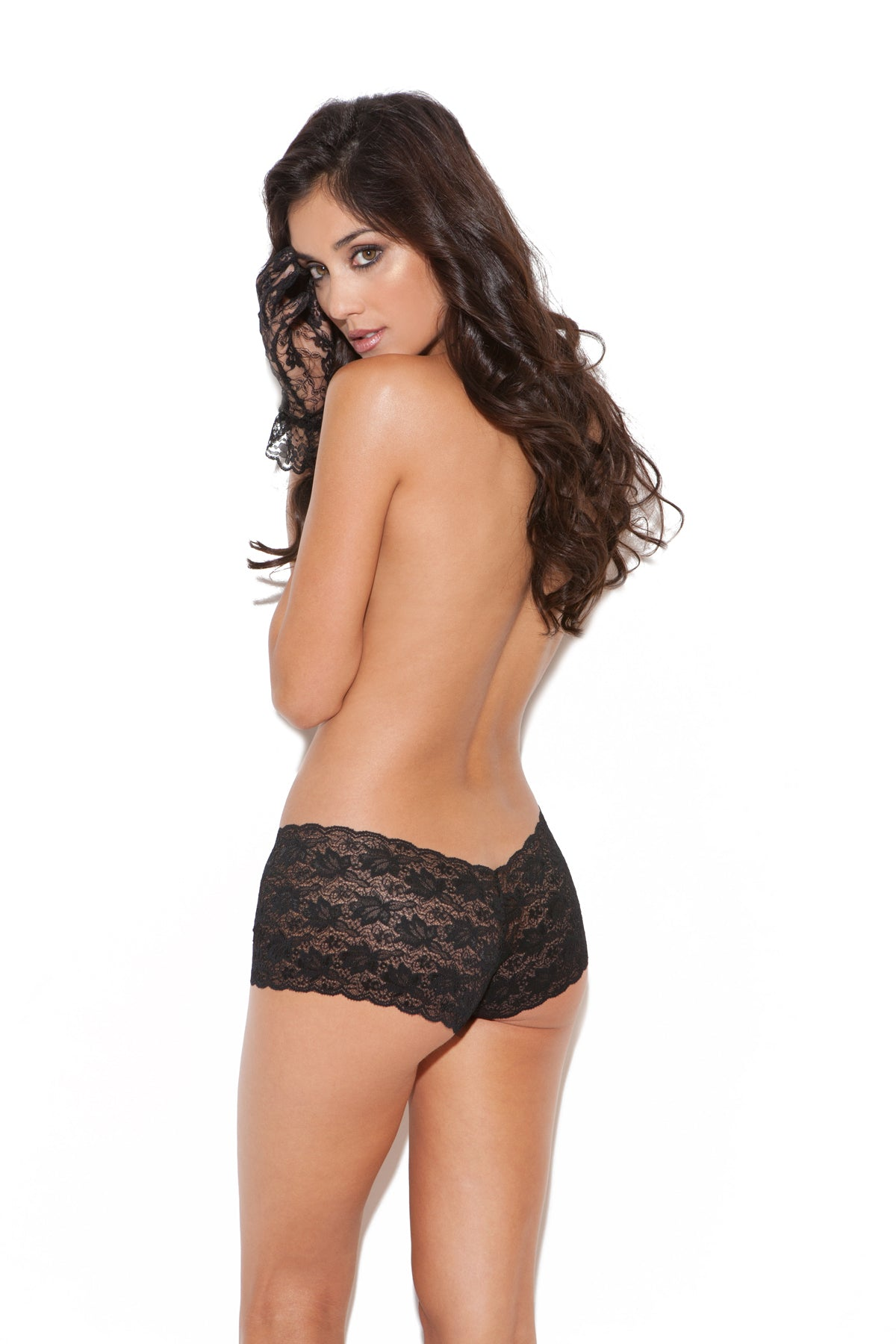 BLACK LACE CHEEKY SHORTS