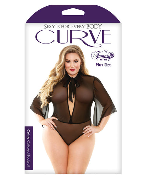 Curve Mesh Collared Bodysuit W-tie Neck Black 1x-2x