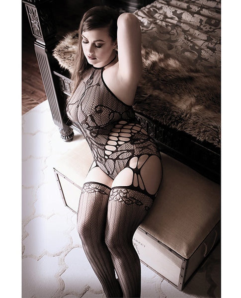 Sheer Fantasy Goodnight Kiss Caged Halter Teddy W-attached Stockings Black Qn