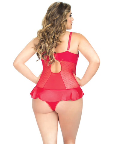 V-plunge Satin Skirted Teddy W-snap Crotch